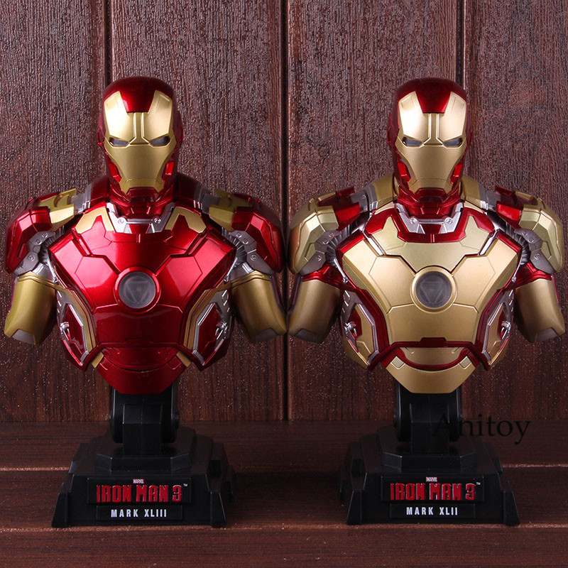 Marvel Comics Hero The Avengers Iron Man Mark XLIII Htb28 1/4th Scale Collectible Bust Action Figure Model Toy