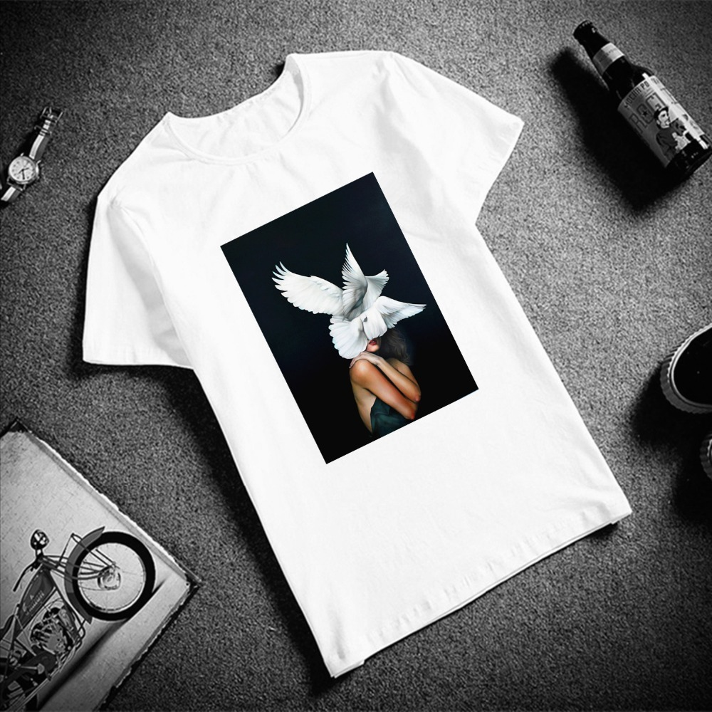 Skipoem Funny Tshirt Birds Butterfly Feather  Cotton O Neck T Shirt Plus Size Short Sleeve Brand Female T-Shirt Femme