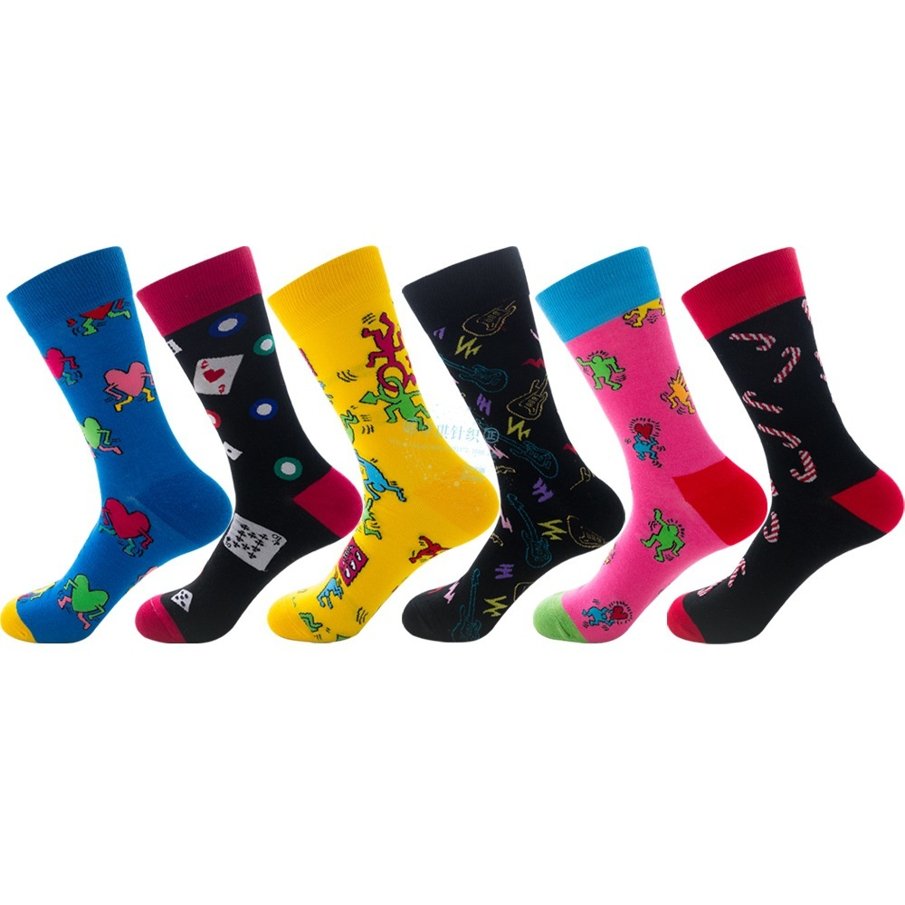 PEONFLY keith haring Fancy Character Smiley Face Colorful Personality Funny Women Men Unisex Socks Happy Socks Cotton Cozy Socks