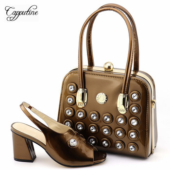 Capputine New Fashion PU Decorated With Rhinestone Shoes And Bag Set Italian Style Woman Pumps Shoes And Bag Set For Party