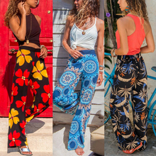 2019 New Women Baggy Harem Pants Boho Hippie Wide Leg Gypsy Palazzo Casual Plus Size Floral Trousers