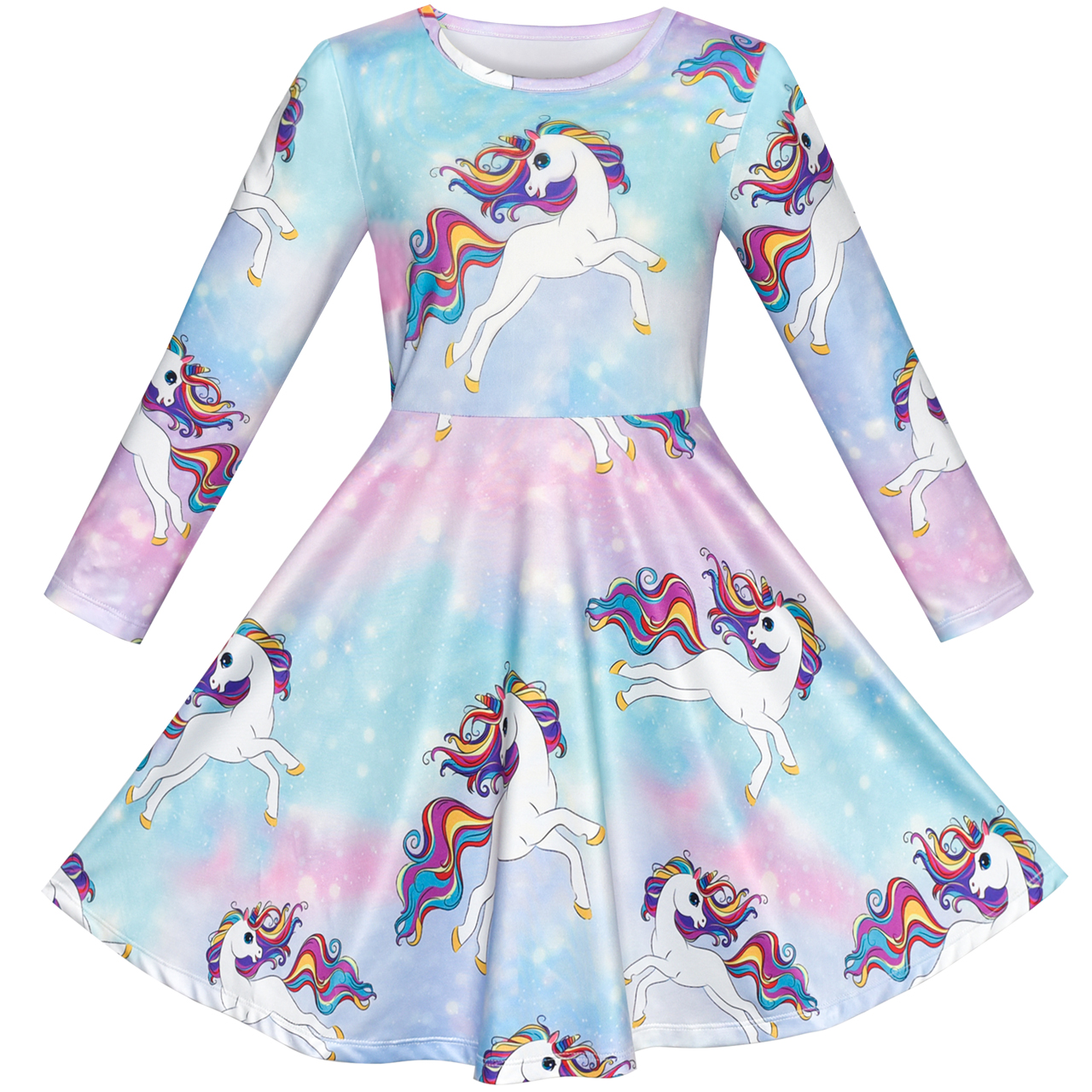 Toddler Kids Baby Girl Clothes Long Sleeve Unicorn Dress Striped Skirt Princess Casual Outfit