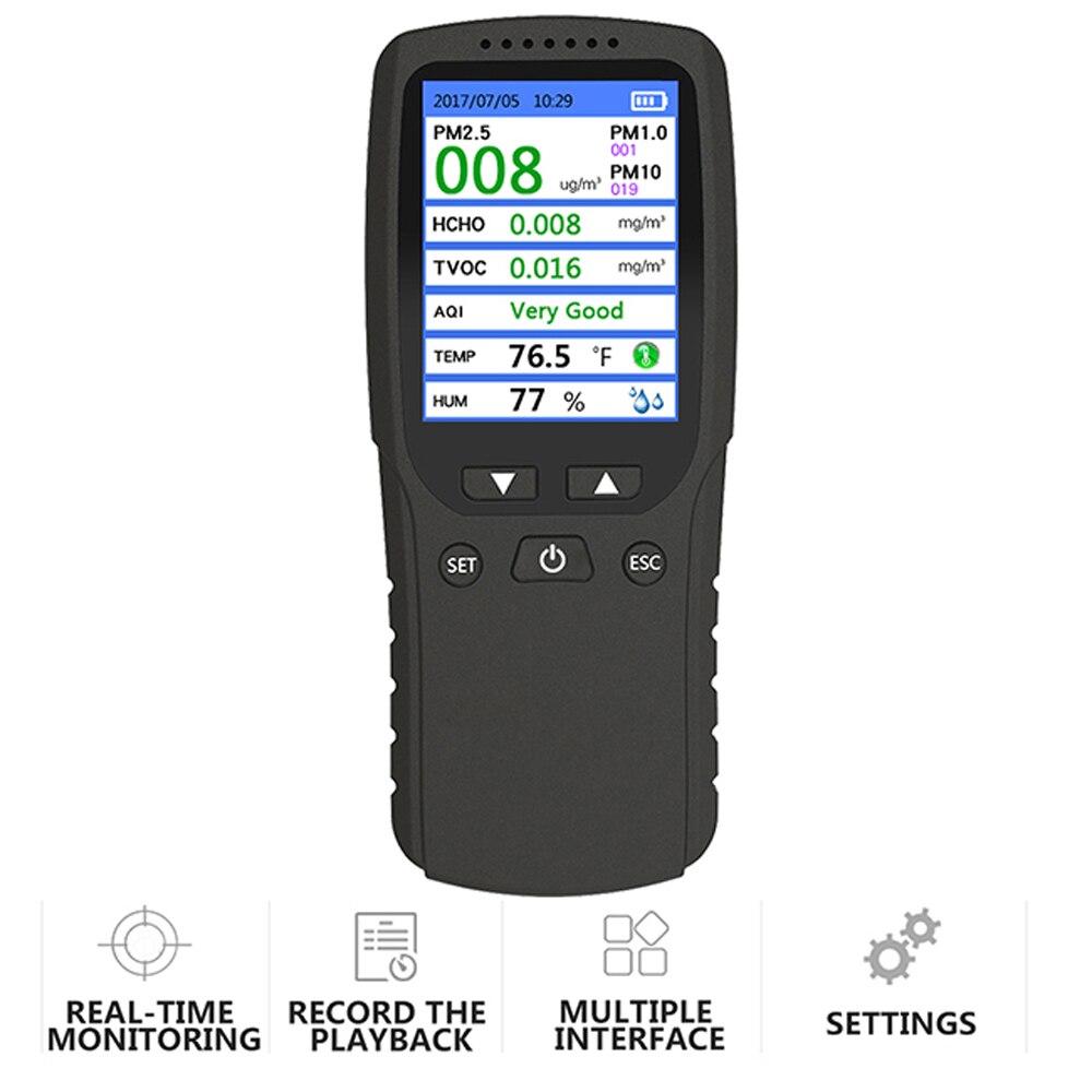 8-in-1 Digital Display Hohe Genauigkeit Pm2.5 Pm10 Pm1.0 Tvoc Hcho Detektor Luft Qualität Analyzer Mit Thermometer Und Hygrometer