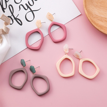 New Design Sweet Irregular Hit Color Candy 1Pair Hollow Out Long Marble Ear Clip Geometric Party Big Acrylic Drop Earring