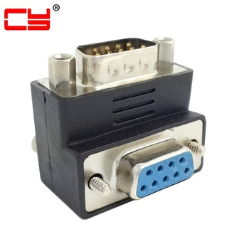 D-Sub RS232 Female 9Pin Down Right Angled 90 Degree Thumbscrew Type to 9Pin Male Extension Adapter Converter Connector недорого