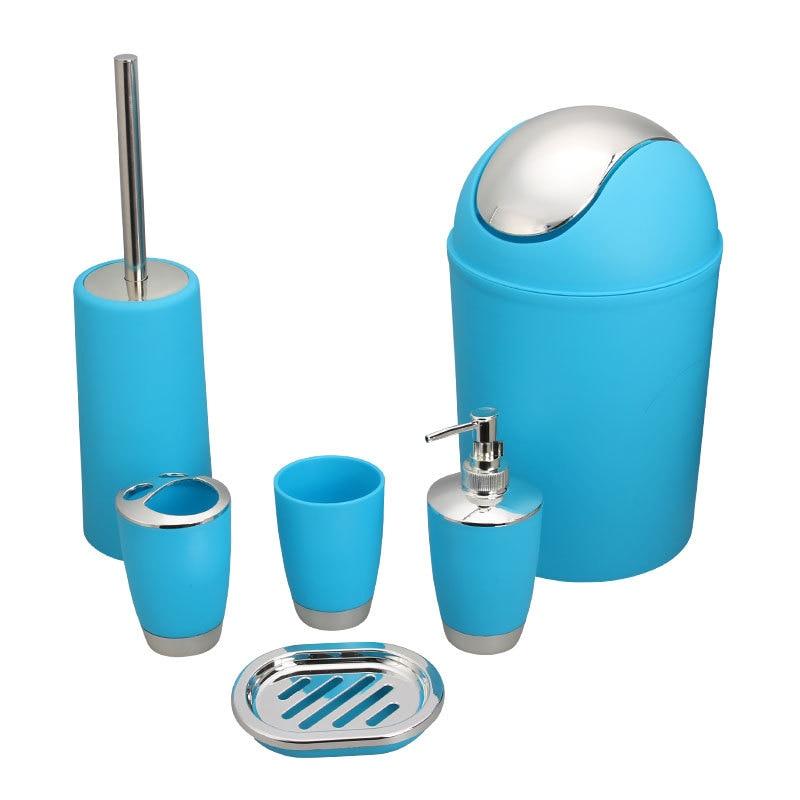 Домашние пластиковые покрытые туалетные принадлежности для ванной в европейском стиле набор из шести предметов: кружка, бутылка для лосьона, держатель, мыльница, щетка для унитаза, мусор