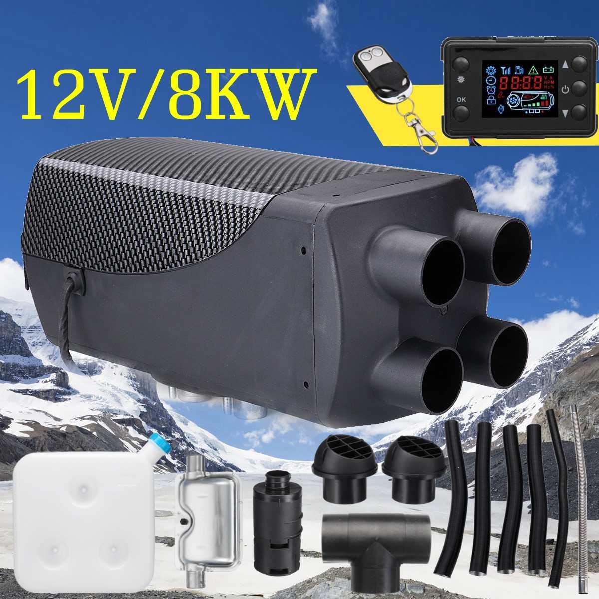 Chauffage de voiture 12 V 8KW stationnement Air Diesels chauffage LCD moniteur 4 trous avec télécommande + silencieux pour camping-Car RV camions Bus bateau