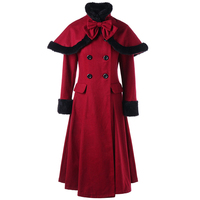 Autumn Winter New retro coats Women Fur Collar Double breasted long lace up bowknot Wool Blends Coat Outerwear overcoat + Cloak
