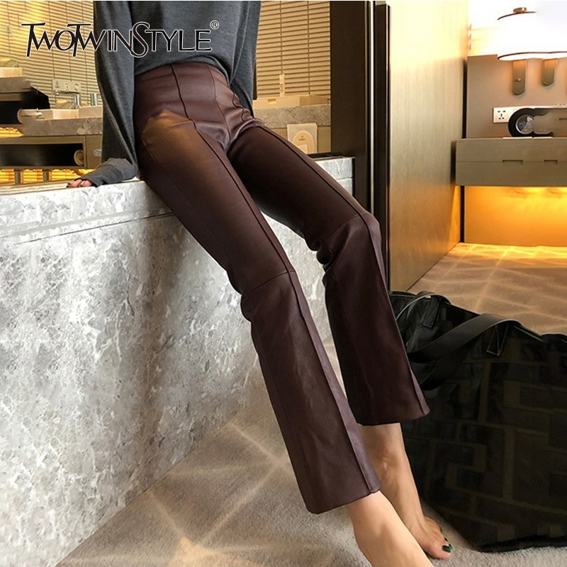TWOTWINSTYLE PU Leather Trousers For Women High Waist Black Ankle Length Flare Pants Female Autumn Fashion Clothes 2020 New