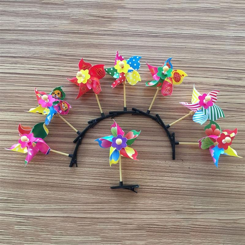 12PCS Creative Mini Windmill Hairpin Fun Hair Clips Dotted Wind Spinner Pinwheel Hair Clips Party Hairpins For Kids Adults in Hair Accessories from Mother Kids