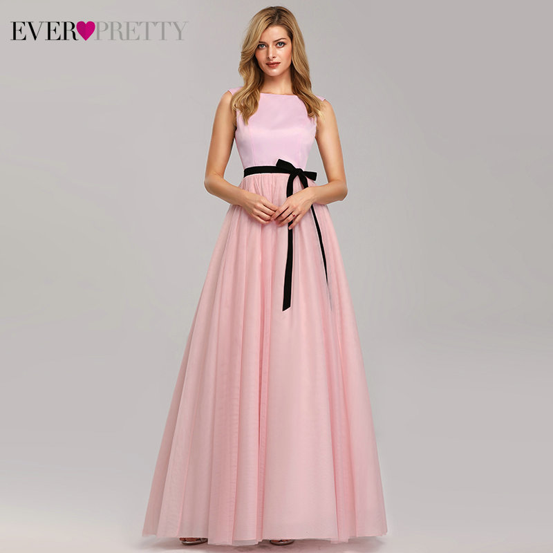 Elegant Pink   Bridesmaid     Dresses   Ever Pretty A-Line O-Neck Bow Sashes Long   Dress   For Wedding Party For Woman Vestido Madrinha