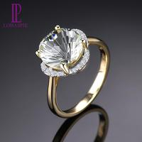 LP Solid 14 Karats Yellow Gold Diamond Ring Natural Green Amethyst 3.76CT Special Daisy cutting Fine Gemstone Jewelry for Women