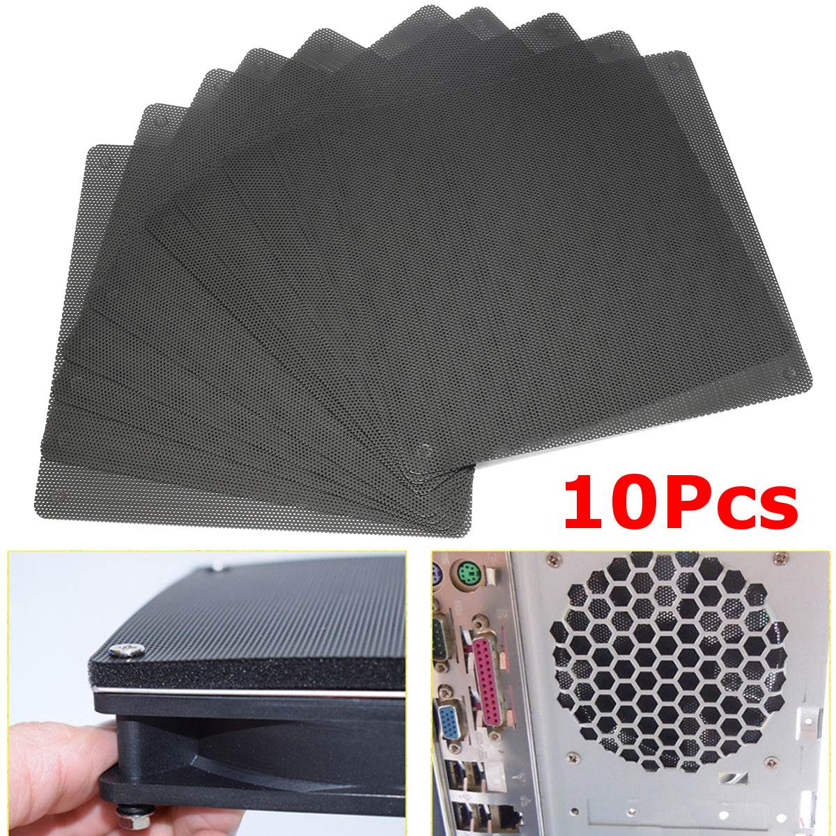 10pcs 14x14cm Black Pvc Computer Pc Cooler Fan Case Cover Dust Filter Mesh Computer Fan Cooling Cuttable Mesh Accessories Kit