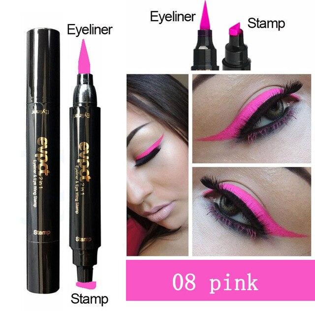 Evpct Double-Head Liquid Eyeliner with Stamp Eye Pencil Waterproof Seal Makeup Eye Liner Blue Black Brown maquiagem TSLM1 3