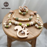 Let's Make Wooden Teether Baby Gym Teething Nursing Rattle For Baby Toys Beech Wood Animals DIY Pacifier Making Set Of Rattles
