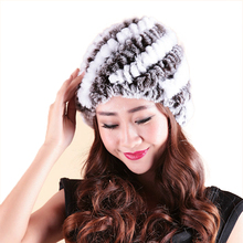 Mink Fur Real Knitted Caps  Womens Winter Pineapple Hat with Female Cap For Women Hold Ears