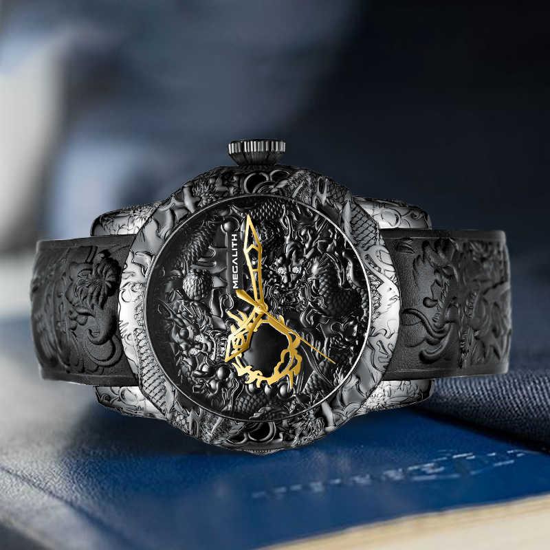 MEGALITH moda altın ejderha heykel İzle erkekler su geçirmez büyük arama kauçuk kuvars saatler erkekler saat Reloj Hombre