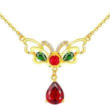 4533e9225fd8 18 K oro mariposa Colgantes De rubí collar De cadena De joyería De la boda  para las mujeres con palo De Bizuteria Esmeralda Colg.