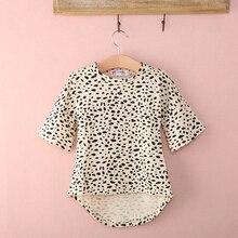 Милая футболка с короткими рукавами и леопардовым принтом; топ для девочек