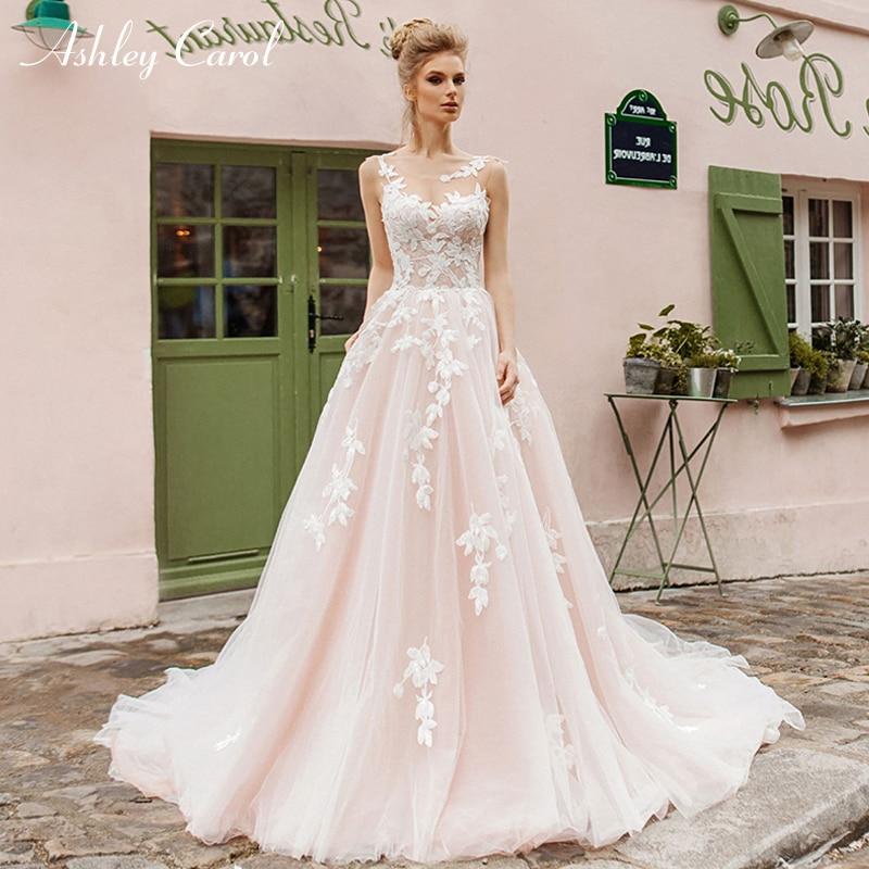 Ashley Carol Fashion Scoop Tulle Wedding Dresses 2019 Sexy Backless Chapel Train Bridal Dress Fairy Princess