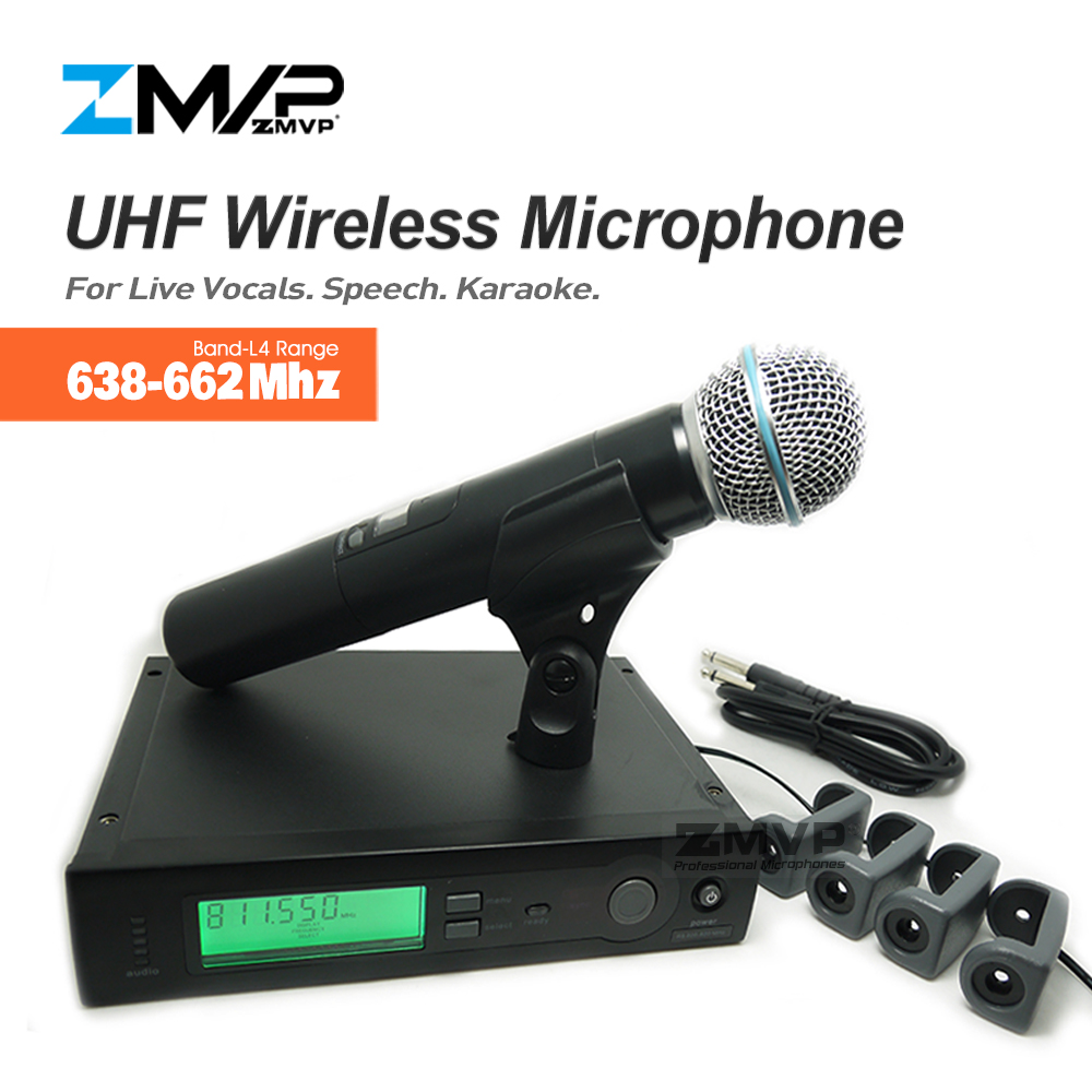 ZMVP UHF Professional SLX24 BETA58 Wireless Microphone SLX Cordless Karaoke System With Handheld Transmitter Band L4 638-662Mhz zmvp p24 m58 uhf professional wireless microphone system with m58 handheld transmitter mic for stage live vocals karaoke speech