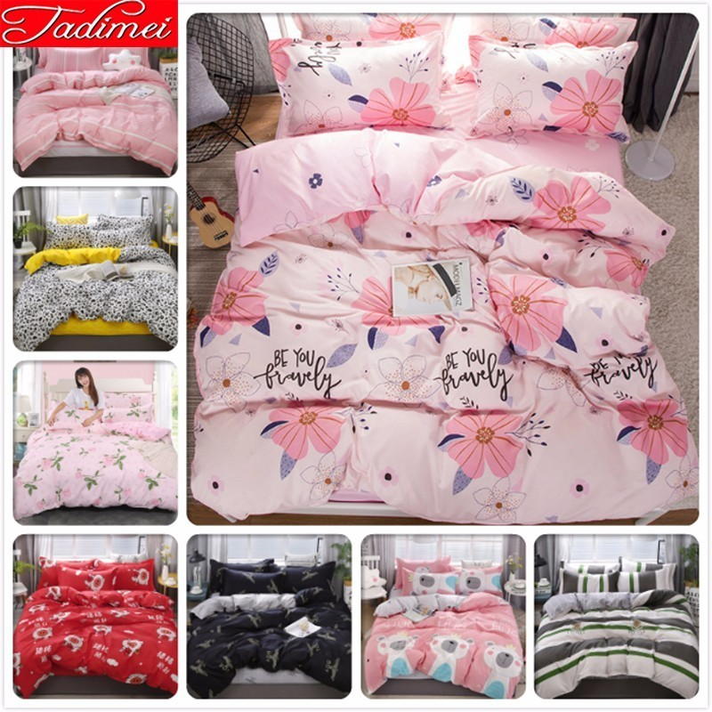 150x200 180x220 200x230 220x240 Duvet Cover Bedding Set Adult Kids Girl Floral Soft Cotton Bed Linen Single Full Queen King Size