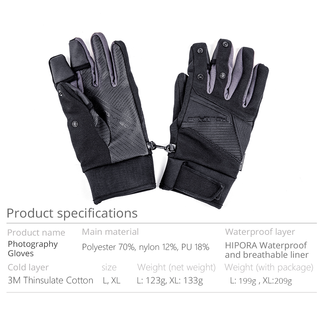 PGYTECH Drone Aerial Photography Windproof Waterproof Gloves Finger Conductive Warm and Breathable Gloves for Outdoor XL