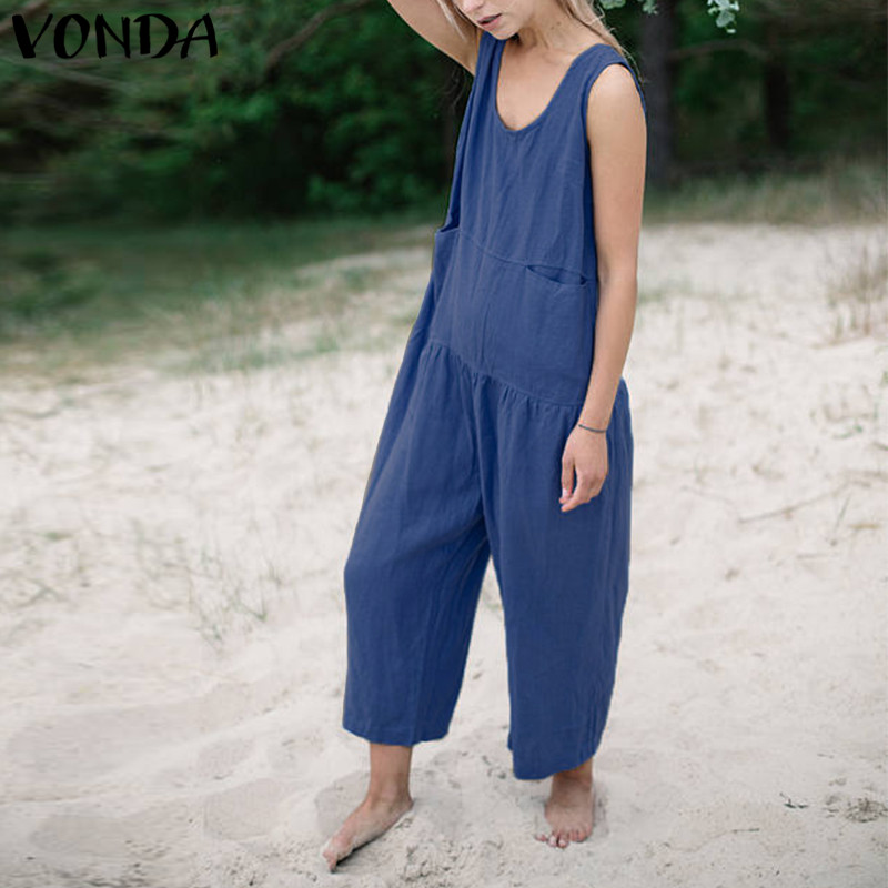 VONDA Rompers Womens   Jumpsuit   2019 Summer Casual Loose Cotton Playsuits Long Wide Leg   Jumpsuits   Plus Size Vintage Overalls
