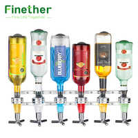 Wand Halterung 6-Station Schnaps Spender Bar Butler Wein Spender Alkohol Flasche Dispenser Trinken Ausgießer Bar zubehör Werkzeuge