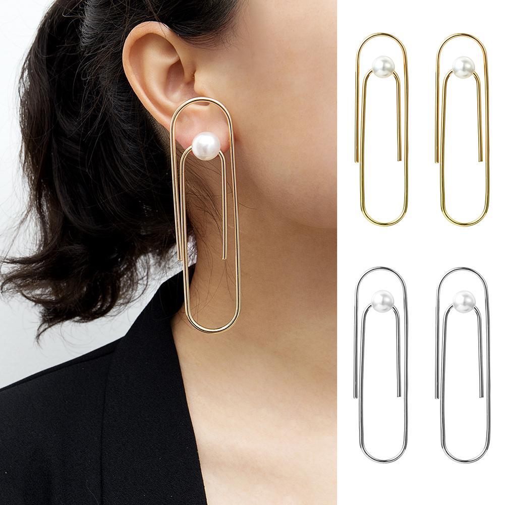 Forma De Clipe de Papel de jóias Declaração Geométrica Brincos Simples Faux Pérola Ear Stud Mulheres Brinco Ornamento Do Presente Jóias Brinco