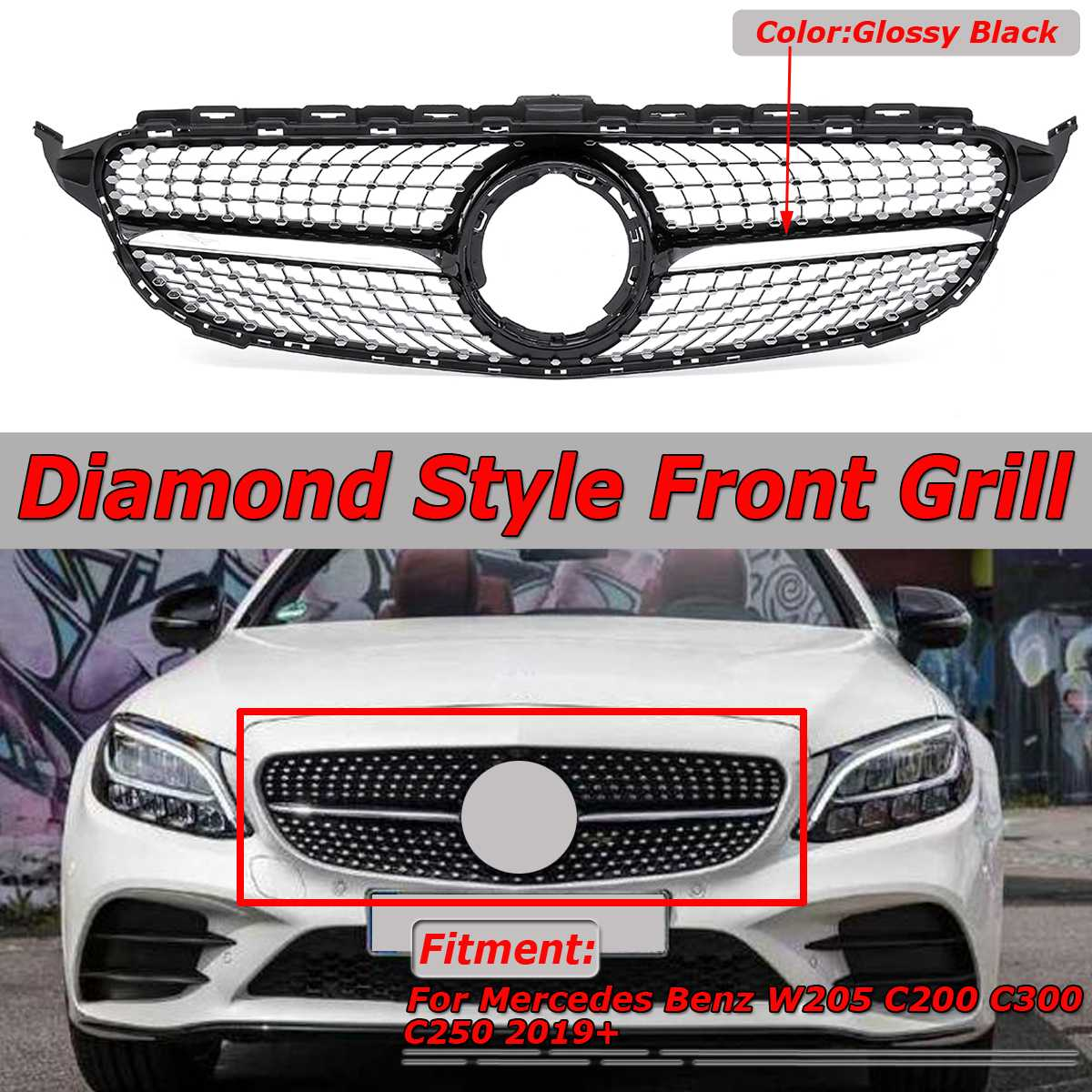 New Diamond Style Car Front Grille Grill Cover Trim <font><b>For</b></font> <font><b>Mercedes</b></font> <font><b>For</b></font> Benz W205 <font><b>C200</b></font> C300 C250 <font><b>2019</b></font>+ Golssy Black / Chrome Silver image