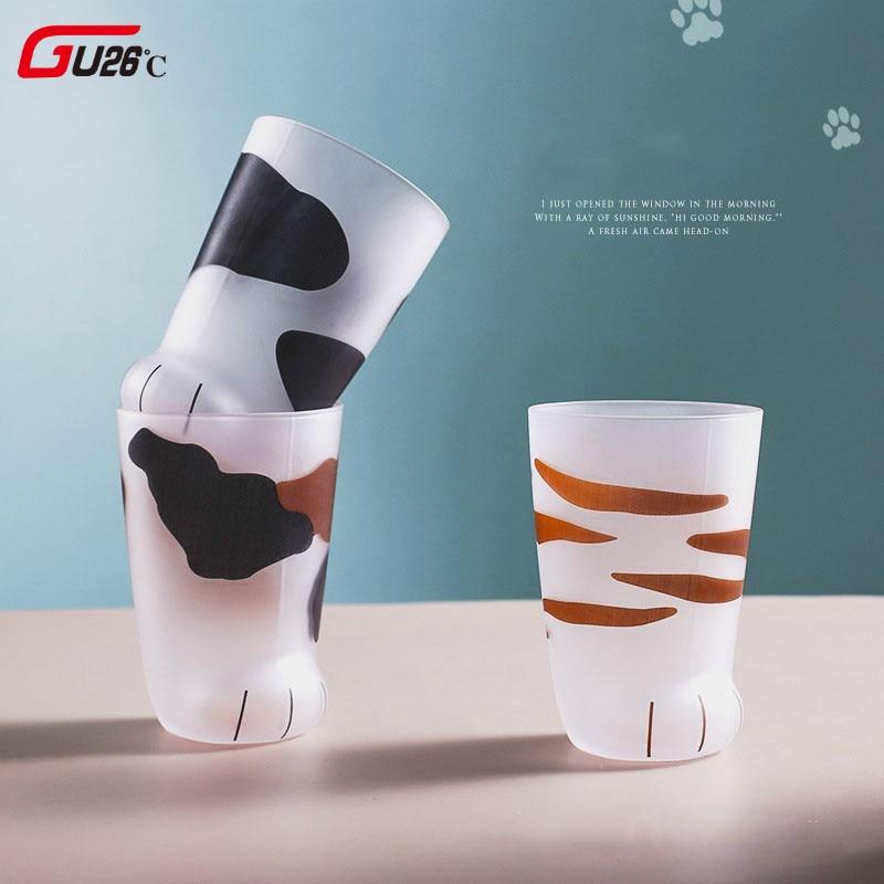 Criativo bonito gato patas tigre de vidro caneca de café escritório caneca tumbler personalidade café da manhã leite porcelana copo presente