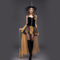 Halloween Carnival Women Adult Witch Costume Cosplay Short Mesh Costumes Ball Gown Black Party Fantasia Dresses