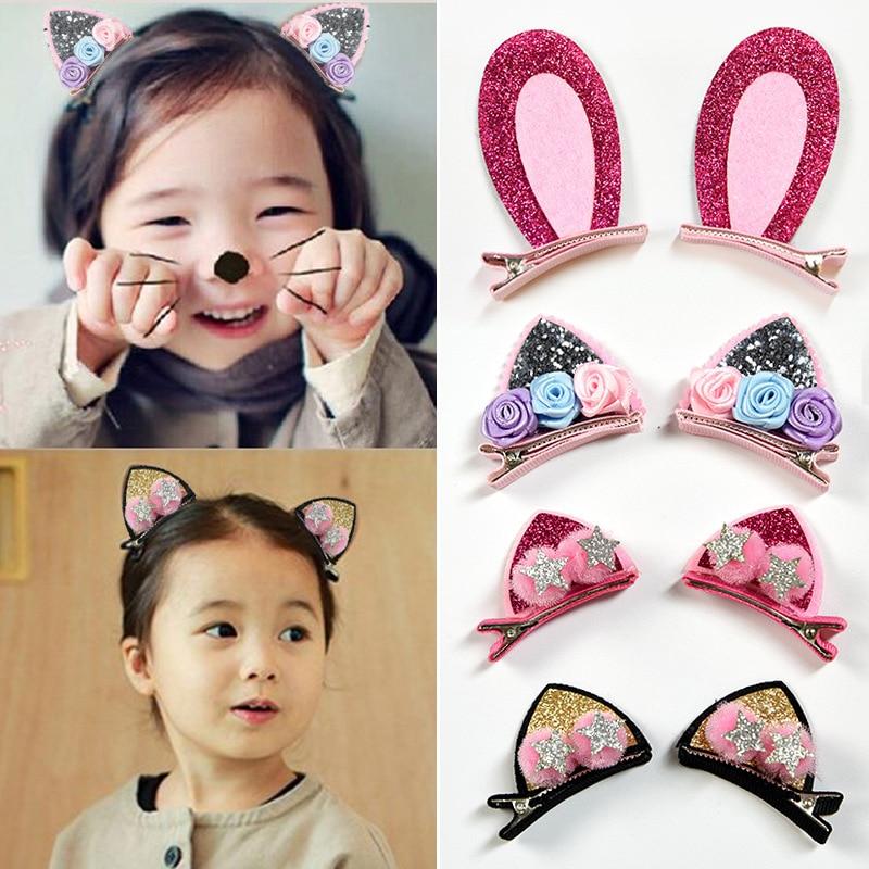 6X Fashion Girl Animal Hairpin headwear kid/'s barrettes Hair clips Snap Clip VT