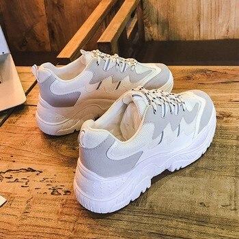 Модные белые кроссовки женские кроссовки на платформе обувь туфли на танкетке на шнуровке 2018 дамы Повседневная обувь с сетчатым верхом из д...