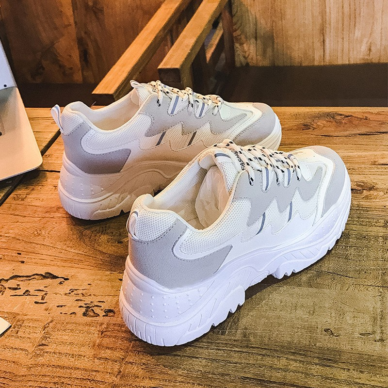 Fashion Woman Sneakers Autumn White Platform Sneakers Lace Up Wedges Suede Shoes Mesh Winter Sneakers Women Casual Shoes sneakers