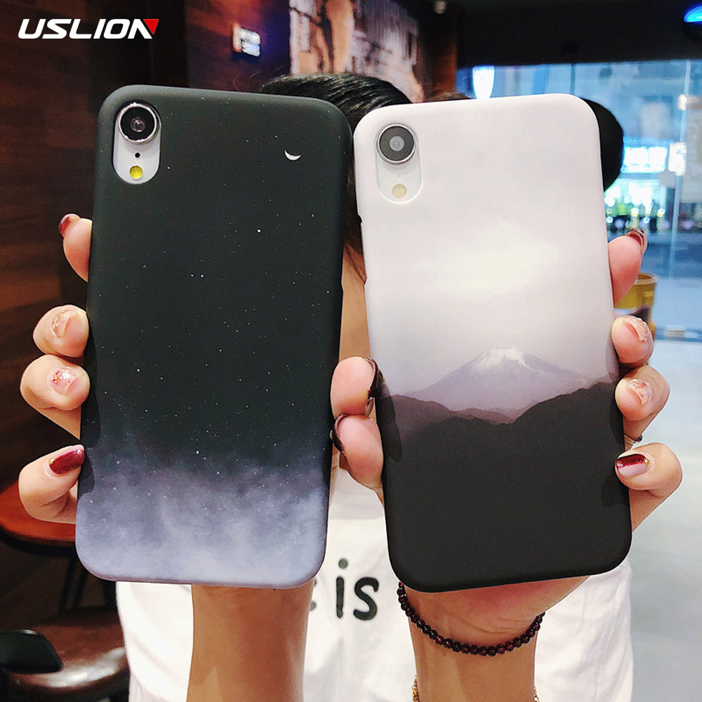 USLION Moutain Starry Sky Cover For iPhone 6 8 7 Plus Simple Moon Case For iPhone 6 Plus X XR XS Max Hard PC Back Cover Coque iPhone