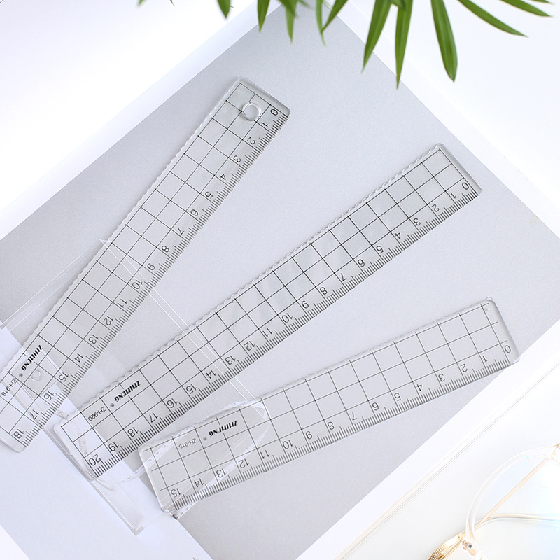 2PCS  Simple Ruler Transparent Square Acrylic Plastic Ruler Students Straightedge Learn Stationery Drawing15CM/18CM/20CM