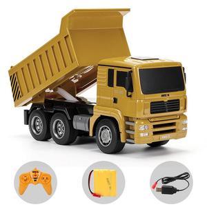 Image 1 - HUINA 332 1:16 Four Wheel Drive RC Dump Truck  Load 1kg children rc  Plastic Truck car toy