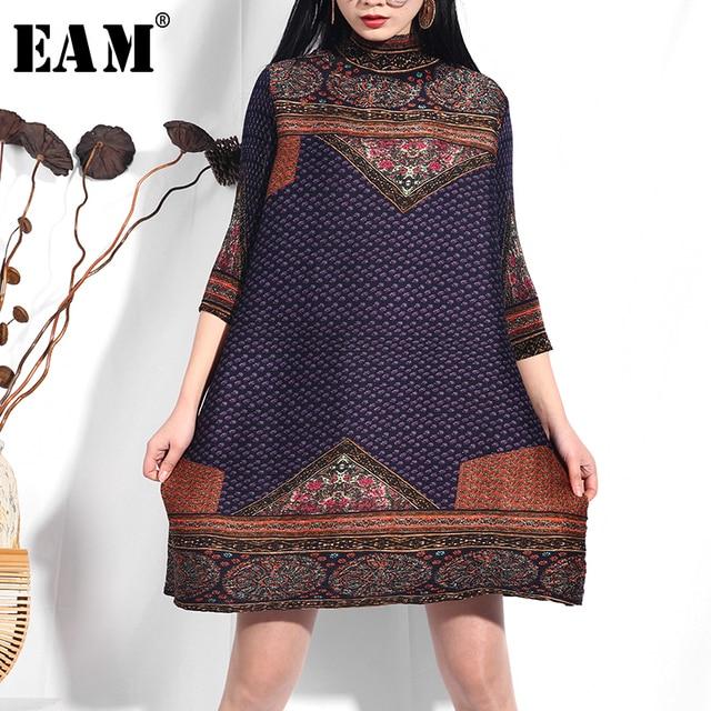 [EAM] 2019 New Spring Summer High Collar Three-quarter Sleeve Pattern Printed Loose Big Size Pleated Dress Women Fashion UA088