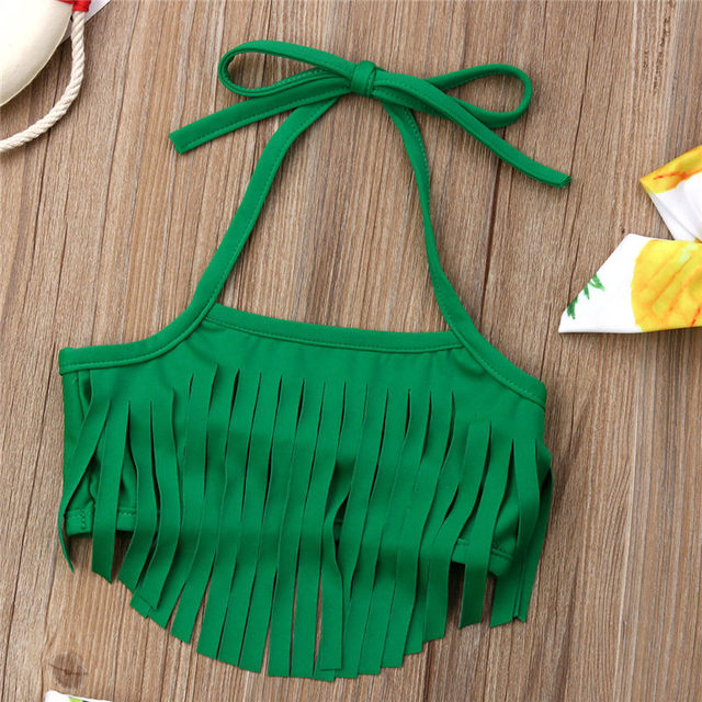 2019 Kid Swimsuit Baby Girl Swimwear Summer Infant Bikini Toddler Tassel Top+Pineapple Shorts+Headband  Beachwear Bathing Suit