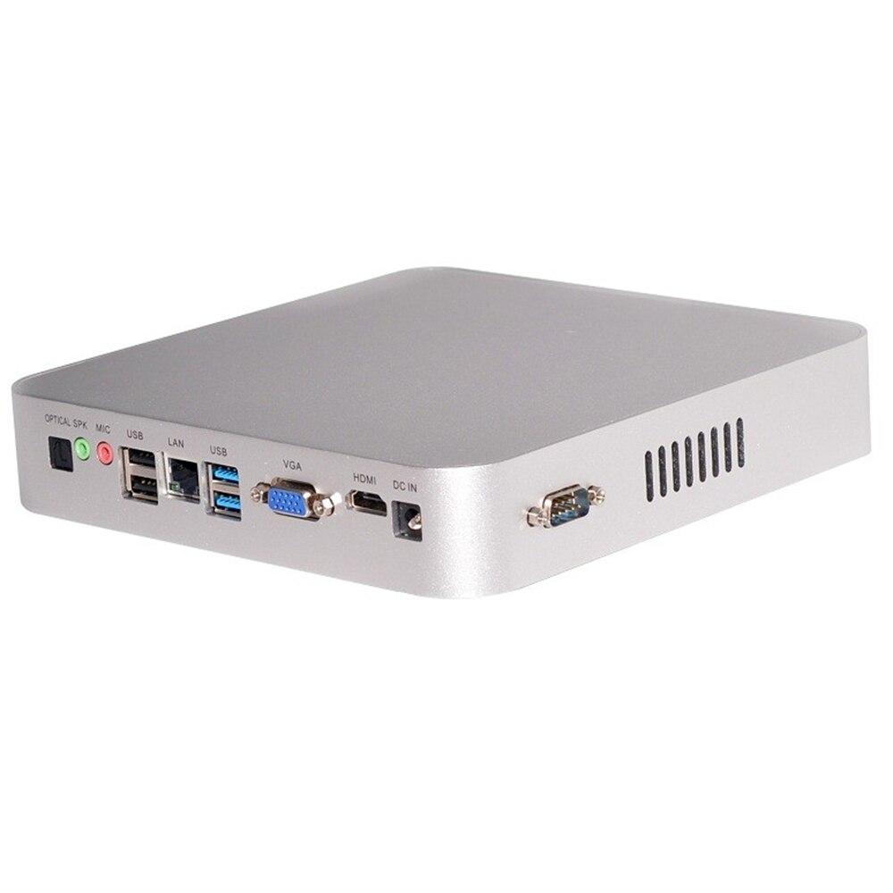 Безвентиляторный мини-ПК, Intel Celeron N3150, Windows 10/Ubuntu, серебристый, [HUNSN BM06L], (WiFi/VGA/1HD/4USB3.0/2USB2.0/1LAN/2COM)
