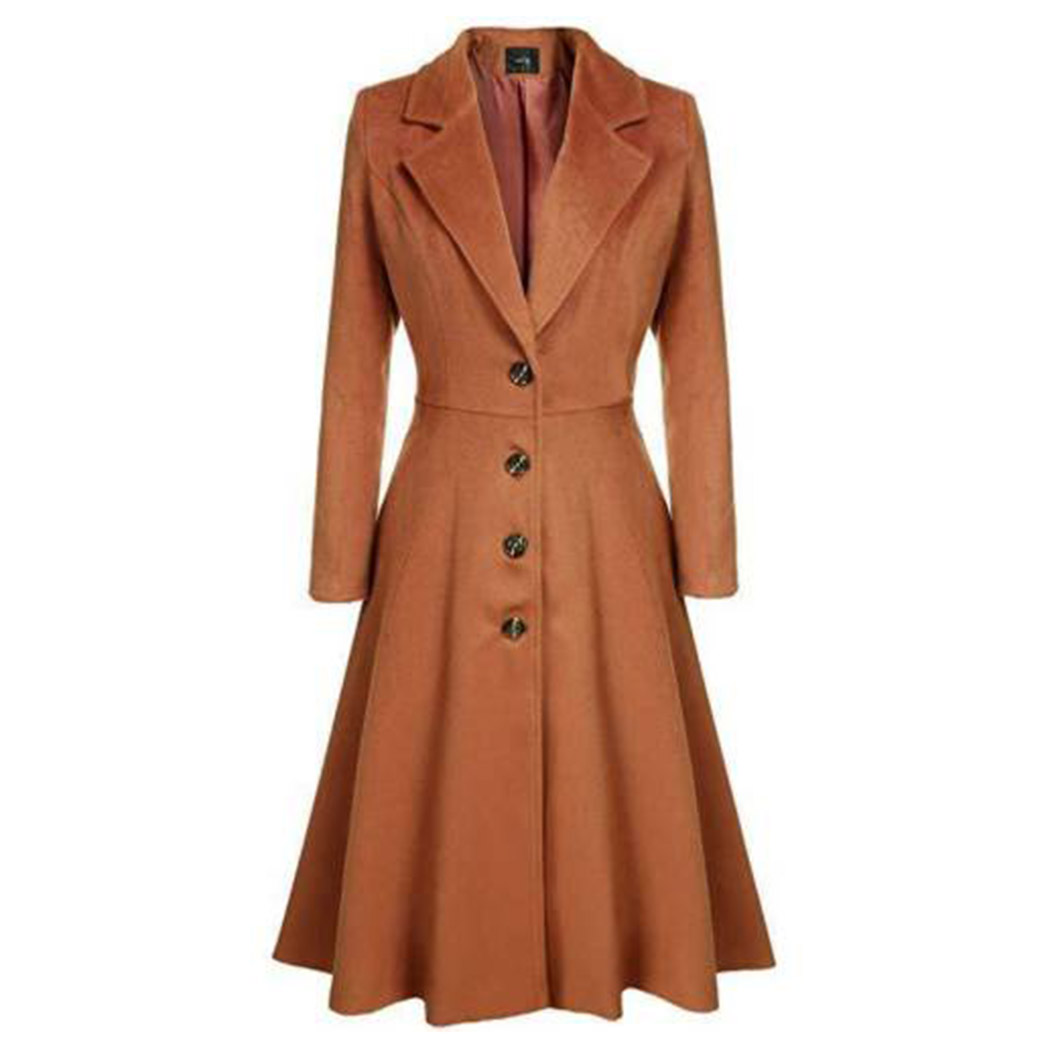 Women Retro   Trench   Coat Single Breasted Long Coats Windbreaker Winter Spring Ladies Lapel Slim A-Line Overcoat Fashion Outwear