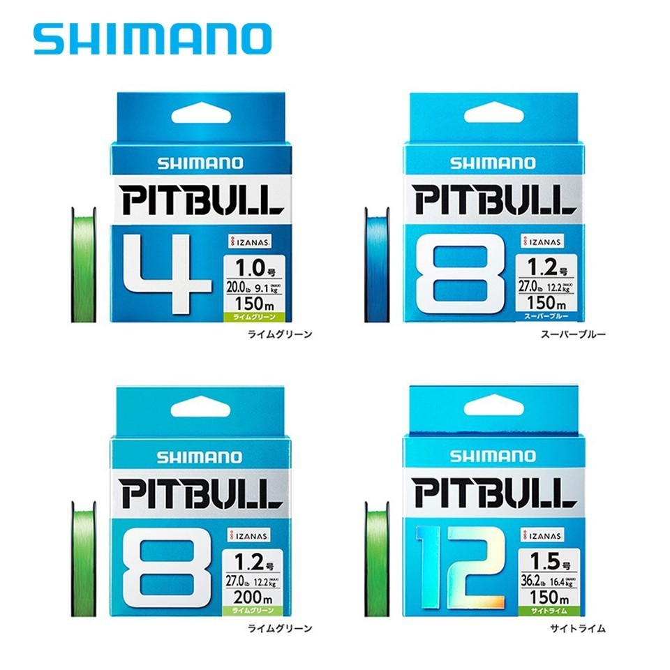 SHIMANO originais PITBULL X4 X8 X12 Trançada Linha De Pesca PE 0.6 #0.8 #1.0 #1.2 #1.5 #2.0 #150 M Verde Azul Made In Japan