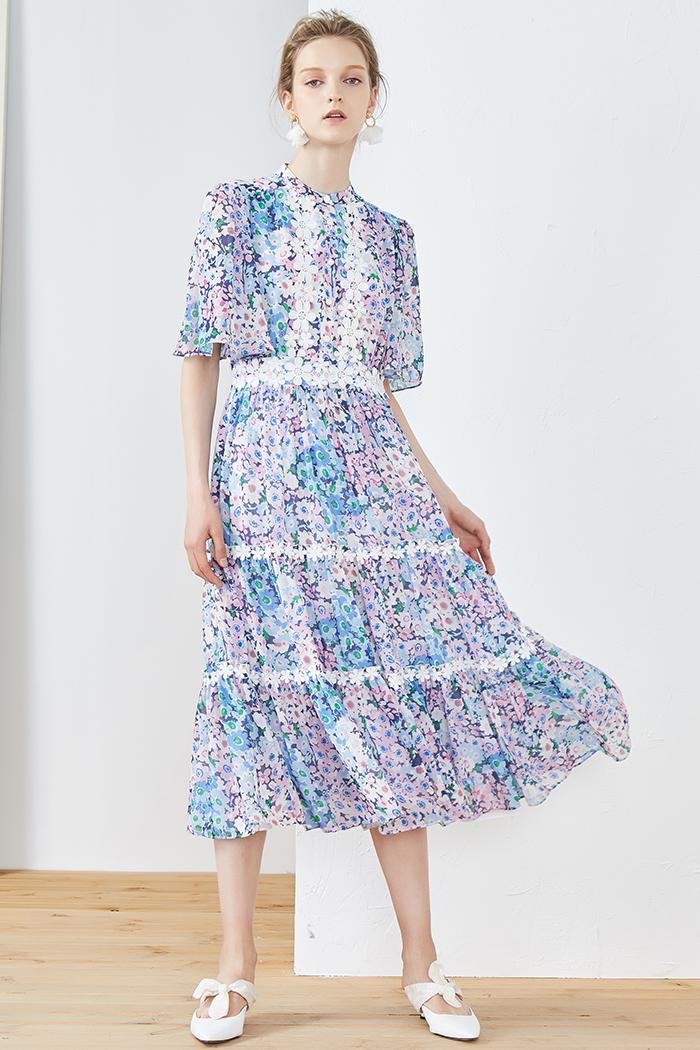 Summer flowers ruffle sleeve silk pink purple printed lace pearl button dress for women