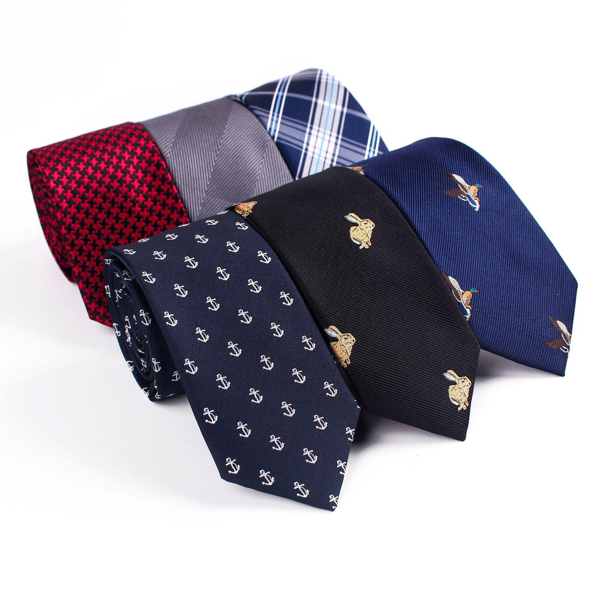 Mantieqingway 6cm Mens Ties New Man Fashion Rabbit Neckties Corbatas Gravata Jacquard Slim Tie Business Green Black Tie For Men