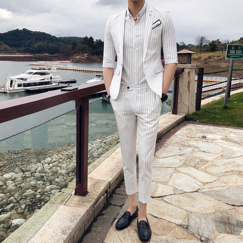 2019 Korean Stripe Slim Fit Mens Suits With Pants 2pcs Suit Men Costume Homme Mariage Business Formal Wear Tuxedo Wedding Dress