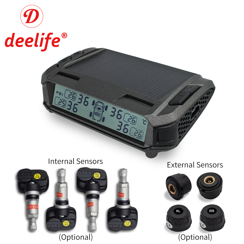 TPMS Sensor Tyre Pressure Alarm Monitoring System Solar Car Security Tire Sensors Smart Wireless TMPS Wheels