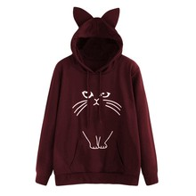202019 new Harajuku fashion cute cat ear print hoodies sweatshirt large size stagram style tumblr clothing