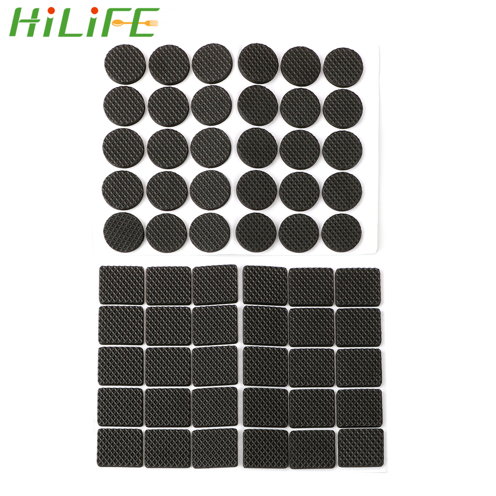 HILIFE 30pcs Rubber Table Feet No-Slip Pad Round Square Sofa Chair Leg Sticky Pad Anti-skid Self Adhesive Furniture Leg Feet Mat